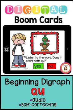 This 20 card deck asks students to listen to a word and determine if it begins with the digraph QU. Audio directions review the sound of the digraph and each word is pronounced for the student. Makes a great phonics center. Learning Cards, Learning Resources, Card Deck, Deck Of Cards, Phonics Centers, Phonograms, Letter To Parents, Early Literacy, Task Cards