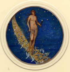 In this second watercolour from the 'Flower Book' of Pre-Raphaelite artist Edward Burne-Jones, we can see the goddess Venus walking through the night's sky with doves. This painting is titled 'Rose of heaven' – a name given to the plant campion, a small pink flower. Burne-Jones took inspiration from the name of the flower and its connotations, rather than what the flower actually looks like. The depiction of Venus seems to be heavily influenced by Botticelli's 'Birth of Venus', with flowing…