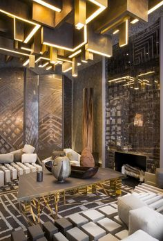 50 Modern Center Tables for a Luxury Living Room - Beleuchtung Design Hotel, Design Entrée, Lobby Design, Restaurant Design, House Design, Design Ideas, Restaurant Lighting, Design Projects, Graphic Design