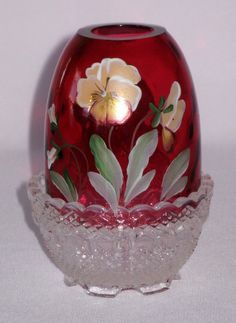 Fenton Handpainted Pansies on Cranberry 2 Piece by classyglass01, $55.00