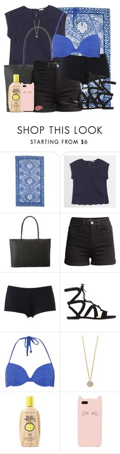 """""""Jemma Simmons Inspired Beach Club Outfit"""" by lauloxx ❤ liked on Polyvore featuring J.Crew, H&M, Hurley, Gianvito Rossi, Dorothy Perkins, The Limited, Sun Bum, Kate Spade, Summer and beachwear"""
