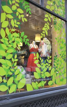 Leaves yes spring window display, store window displays, stickers vitrine, retail windows, Spring Window Display, Store Window Displays, Retail Displays, Shop Displays, Visual Display, Display Design, Display Ideas, Store Design, Window Stickers