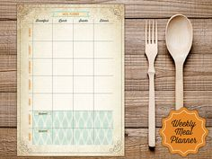 "If you plan the meals of the week, you will have plenty of free time for you! Vintage Weekly Planner Printable - Instant Download Size: This printable comes in 2 sizes: - US Letter, 8.5"" x 11"" page - A4 (Europe) page How to - Click on ""Add to Cart"". - Complete payment information. - Download the high-resolution PDF file. - Open the PDF file in Adobe Reader. If you don't have it, download the software here http://get.adobe.com/reader/ - You can print it out on your home..."