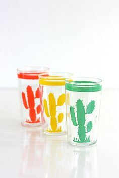 Vintage Homer Laughlin Hacienda Cactus Go Along Optic Drinking Glasses