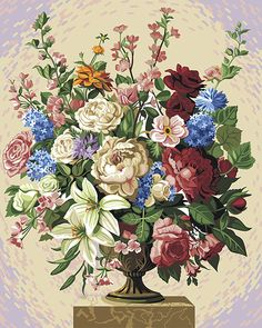 Flower Baskets, Flowers, Painting, Products, Embroidery, Painting Art, Paintings, Royal Icing Flowers, Painted Canvas