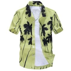 Short Sleeve Coconut Palm Printed Hawaiian Shirt (22 BAM) ❤ liked on Polyvore featuring men's fashion, men's clothing, men's shirts, men's casual shirts, mens hawaiian shirts, men's hawaiian print shirts, mens short sleeve shirts, mens casual short-sleeve button-down shirts and mens palm tree shirt
