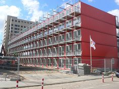 shipping container apartments - amsterdam | Flickr - Photo Sharing! Shipping Container Buildings, Shipping Container Home Designs, Container House Design, Shipping Containers, Module Design, Container Restaurant, Building A Container Home, Vertical Farming, Container Architecture