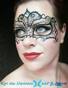 Inspired by Stephanie Jimenez masquerade lace mask with glitterlips facepaint
