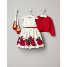 Janie and Jack 2015 Forever Rose Enchanted Garden Rose Border Dress in Ivory Rose ($99), Rosette Cropped Cardigan in Rose ($52), and Bow Patent Ballet Flat in Rose ($59)