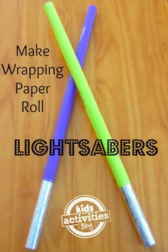 Can't find pool noodles in the winter to make lightsabers... so time to make wrapping paper roll lightsabers