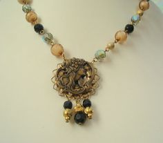 Italian Cameo Button and Filigree Necklace by joyceshafer on Etsy, $32.95