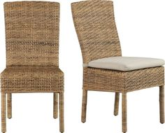Handwoven natural tiger peel rattan is woven over a solid mahogany frame in a tropical rendition of the Parsons style chair.  Smart box-style cushion layers on comfort in cushy polyester covered in 100% cotton.  Fabric tab fastener secures cushion in place and detaches easily. Chair is mahogany and natural tiger peel rattanClear protective lacquer finishFloor protectorsCushion is high-density polyester foam and fill100% cotton coverMachine wash removable coverMade in multiple countries.