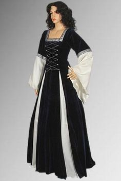 Medieval Renaissance Dress in Gothic Style Handmade from Velvet