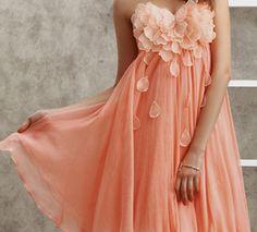 Peach flower petal dress on the hunt Peach Prom Dresses, Pretty Prom Dresses, Dressy Dresses, Homecoming Dresses, Cute Dresses, Bridal Dresses, Beautiful Dresses, Bridesmaid Dresses, Amazing Dresses