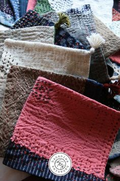 hananiwa SASHIKO B62~71e Sashiko Embroidery, Embroidery Sampler, Embroidery Art, Cross Stitch Embroidery, Japanese Textiles, Japanese Fabric, Small Projects Ideas, Boro Stitching, Running Stitch