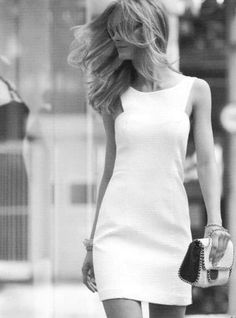 bag, black and white, blonde, clothes, dress - inspiring picture on Favim.com