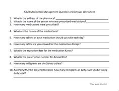Speechie Freebies: Medication Management Worksheet. Pinned by SOS Inc. Resources. Follow all our boards at pinterest.com/sostherapy for therapy resources.
