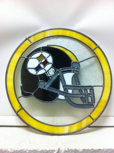 Stained glass steelers helmet . Approx 14  by Paulsstainedglass1