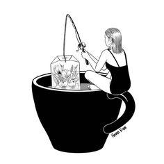 Laid-Back Time Art Print by Henn Kim( the bigger picture) Deco Time, Painting & Drawing, Henn Kim, Black And White Illustration, Time Art, Framed Art Prints, Art Inspo, Illustration Art, Animal Illustrations