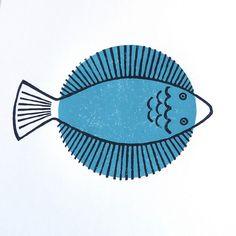 flatfish lino print by lovelypigeon
