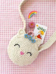 Eine Häkelanleitung für eine zuckersüße Katzentasche - Renate Biermann Un patrón de ganchillo para una bolsa de gato dulce de azúcar - Renate Biermann - # para # patrón de ganchillo # bolsa de gato deko Bag Crochet, Crochet Handbags, Crochet Purses, Crochet Stitches, Free Crochet, Crochet Patterns, Crochet Hats, Diy Bags Purses, Cat Bag