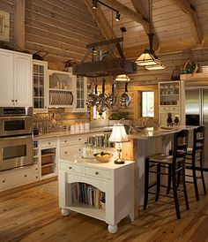 This is the type of kitchen I would LOVE to have...in my custom built LOG HOME! :)