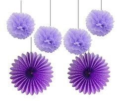 HEARTFEEL 4pcs 10 inch Lavender Color Tissue Paper Pom Po...