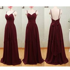 Spaghetti Straps Claret Chiffon Sweetheart Open Back Bridesmaid Dresses Dress DetailsAll the dresses are made-to-order.Size: check the size chart, Maroon Prom Dress, Backless Bridesmaid Dress, Maroon Bridesmaid Dresses, Prom Dresses 2017, Formal Dresses, Dresses Dresses, Chiffon Dresses, Burgundy Dress, Pretty Dresses
