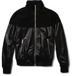 Alexander McQueen Suede and Leather Bomber Jacket