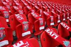 Liverpool scarves are laid out at Wembley to remember the 96 fans who lost their lives 25 years ago in the Hillsborough disaster.