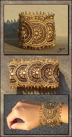 Aurum Solis by Ellygator - This cuff bracelet is done in brick stitch, started with a fan around one side of the seed bead then added one half sun-disk after the other. braceletdeviantart.com on @deviantART