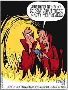 The reviews are brutal! | Read Moderately Confused #comics @ www.gocomics.com/moderately-confused/2015/06/02?utm_source=pinterest&utm_medium=socialmarketing&utm_campaign=social-pin | #GoComics #webcomic #Yelp