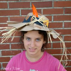 This paper bag scarecrow hat is a fun and simple craft project for kids that doubles as a diy Halloween costume.