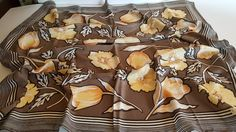 """Silk Scarf / ENRICA ROMA / Yellow Taupe / Large Square 34"""" / Gorgeous Rare Italian Floral Scarf / Vintage by BeautyFromThePast on Etsy"""