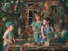 Segredos. Óleo no cartão. Bob Byerley (Kansas City, MO, USA, 1941 - ).