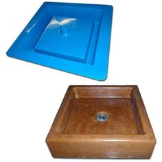 Concrete sink mold, made out of industrial grade fiberglass. Dura-Blu molds are durable molds for casting concrete countertop integral and stand alone vessel sinks. Vessel Box Design.