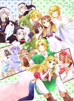 The Legend of Zelda OoT/TP characters cast art Link Zelda Dark Link and others...
