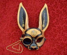 March-of-Time Hare V10... leather clockwork rabbit mask. $240.00, via Etsy.