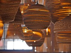Recycled cardboard suspension lights
