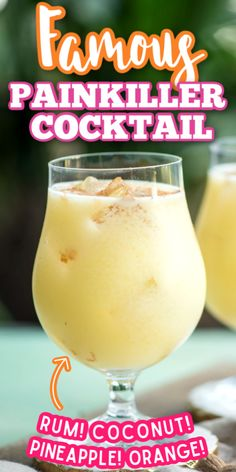 If you're looking for a great warm weather cocktail recipe make these Painkiller Drinks! With coconut cream pineapple juice rum and orange - what's not to love? Malibu Rum Drinks, Coconut Rum Drinks, Liquor Drinks, Bourbon Drinks, Drinks With Rum, Cocktail Recipes With Rum, Easy Rum Cocktails, Summer Rum Drinks, Vodka Sangria