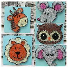 Animal Nursery String art. These cute wooden decorations made from string and nails on a painted wooden piece (0,12x0,12m) is the perfect hanging decoration for your home and for a gift. There are 5 animals as of now, but I can make anything you want. Always happy for a chance at a custom order. If you want more than one, please contact me me to tell you a price and shipping cost. Due to the handmade nature, no piece will be the exact same as the last. Any of the signs take 4-5 days to…