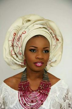 Ivory lace with Aso- Oke fabric ivory/red Gele (Head tie)