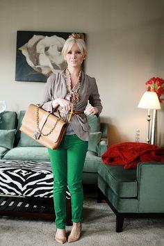 green skinnies + neutrals.