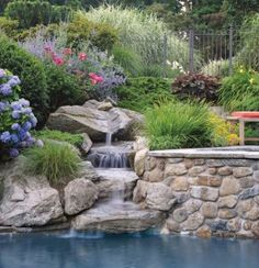 Rock Waterfall Fountains: Add Greenery and Color to the Landscape