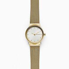 f12e4f256de8 Freja Gold-Tone Steel-Mesh Watch