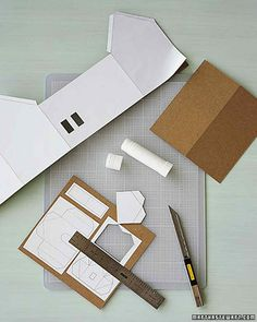 Cut out the individual template elements, and using a glue stick,  lightly affix them to sheets of  chipboard.