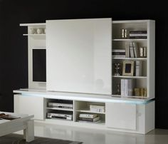 Bianca collection-wall TV unit in white lacquer with shelves and a sliding door