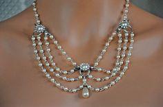 Victorian Bridal Jewelry,Vintage Inspired necklace,Rhinestone,Romantic