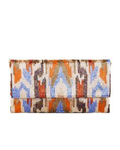Ikat+Beaded+Large+Fold-Over+Clutch+Bag,+Orange+at+CUSP.