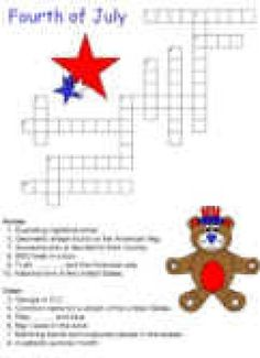 Easy 4th Of July Crossword Puzzle  Online Kids Crossword Puzzles  July 4th Celebration  Printed